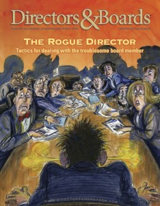 "Cover of the Directors&Boards Magazine Q2 2012 Issue containing ""Firing a Director"" article."