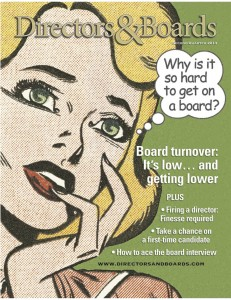 """Cover of the Directors&Boards Magazine Q2 2012 Issue containing """"Firing a Director"""" article."""